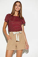 Летние женские бежевые шорты на резинке, фото 1
