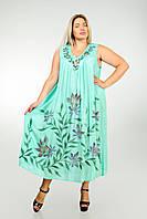 Платье - разлетайка (ламбада), бирюзовое, на 52-64 размеры, фото 1