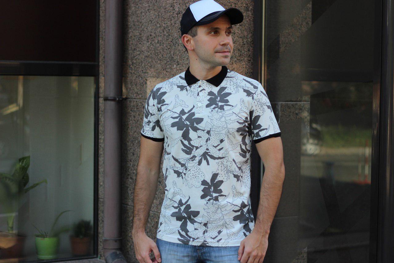 Модная мужская футболка- поло в модных летних принтах S, M, L, XL, XXL
