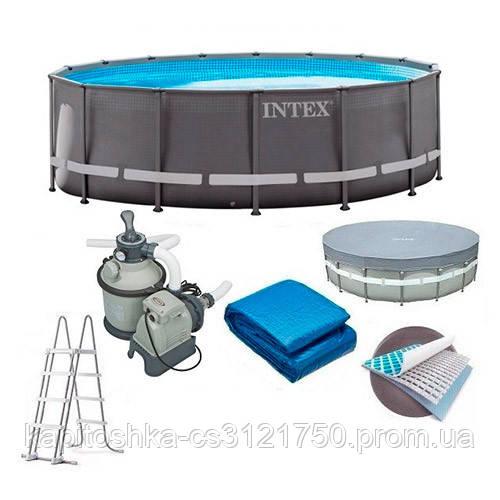 Каркасный бассейн Диаметр: 610 см высота: 122 см. Объем 30079 л. Фильтр.  Intex 26334