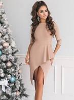 Платье вечернее ассиметричное приталенное по фигуре до колена мини миди Цвет : Бежевый Размер : 42 44 46 Материал : плотный приятный замш k-48434
