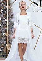 Платье + болеро вечернее ( выпускное ) короткое с поясом , юбка длинная в пол , съемное болеро Цвет : Белый Размеры : 42 - 46 ( универсал ) Материал :