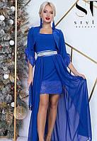 Платье + болеро вечернее ( выпускное ) короткое с поясом , юбка длинная в пол , съемное болеро Цвет : Синий ( Электрик ) Размеры : 42 - 46 ( универсал
