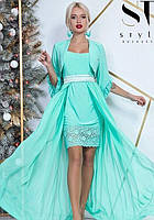 Платье + болеро вечернее ( выпускное ) короткое с поясом , юбка длинная в пол , съемное болеро Цвет : Мятный ( Ментол бирюза ) Размеры : 42 - 46 (