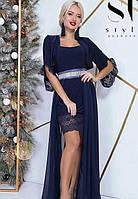 Платье + болеро вечернее ( выпускное ) короткое с поясом , юбка длинная в пол , съемное болеро Цвет : Темно синий Размеры : 42 - 46 ( универсал )