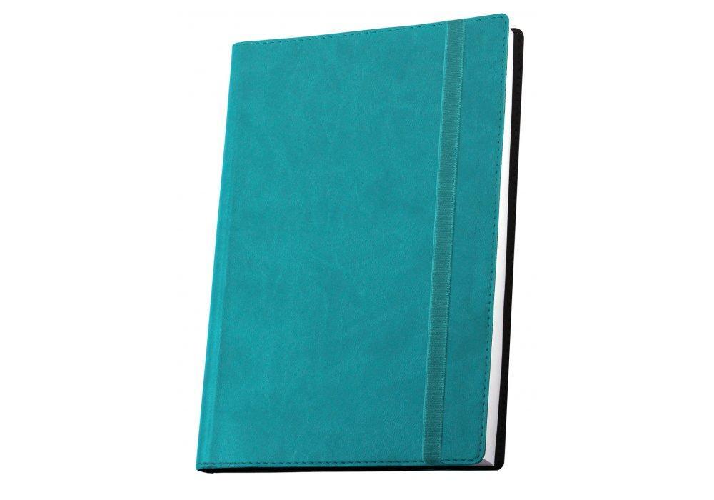 Ділова записна книжка Optima Vivella А5 з гумкою, колір обкладинки - бірюзовий