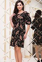 Платье женское черное с принтом демисезонное Турция Цвет : Черный Размеры : 42 44 46 Материал : хлопок креп дайвинг k-49242