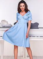 Платье летнее на запах легкое с декольте с пуговицами свободного кроя Цвет : Голубой Размер : 42 44 46 48 Материал : костюмка k-52925