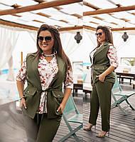 Костюм стильный тройка (Жилет + блуза + брюки)  в расцветках