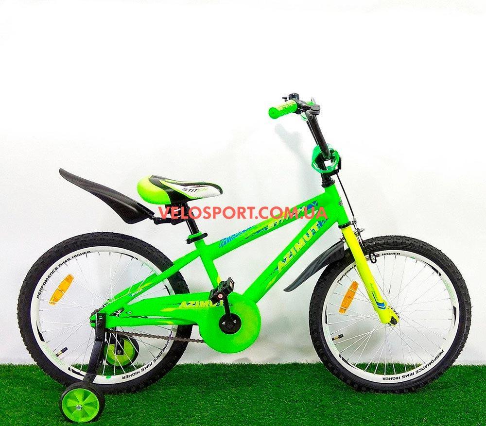 Детский велосипед Azimut Stitch 18 дюймов салатовый