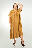 Платье золотистое с рукавом, большой размер, на 56-66 размеры, фото 1