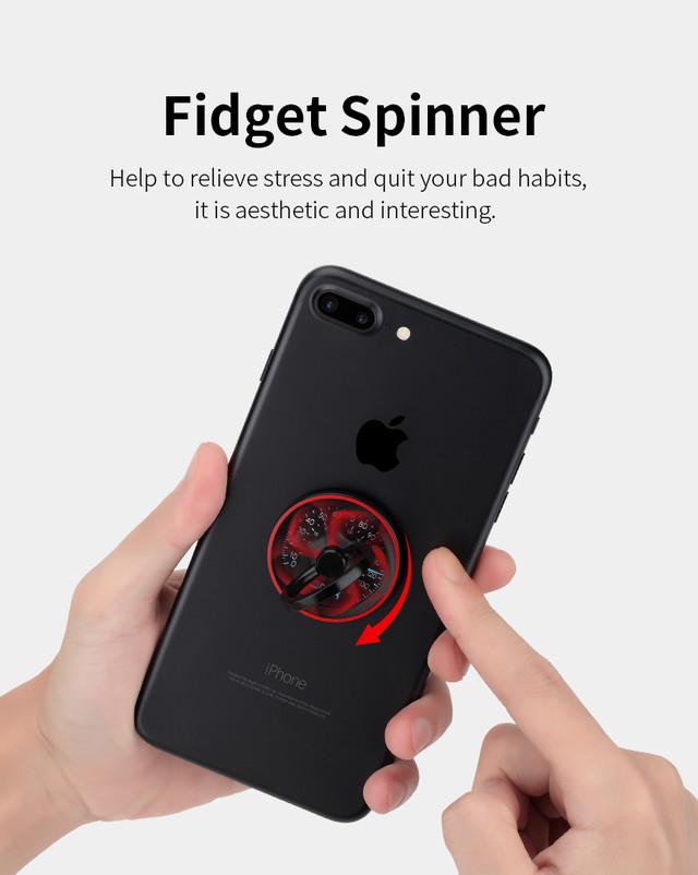 Кольцо-держатель для телефона Rock Spinner Ring Holder RPH0842 Серебристое Красное Черное