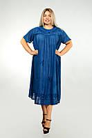 Платье синее с рукавом, большой размер, на 56-66 размеры, фото 1