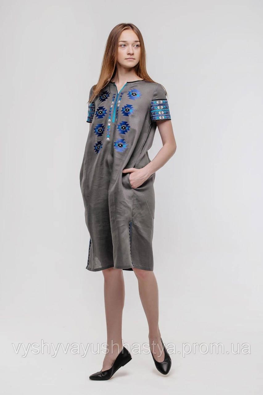 """Льняное вышитое платье """"Яворина"""" на короткий рукав."""