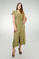Длинное оливковое платье - халат, Индия, на 48-50 размер