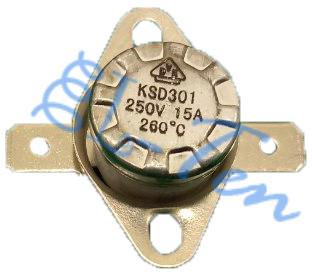 Термостат отсекатель аварийный защитный KSD 301 (КСД) на 260°С/10А самовостанавливающийся