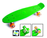 Детский Скейт ПенниБорд Зеленый на светящихся колесах