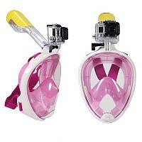 Маска Для Снорклинга FREEBREATH С Креплением Для Экшн-Камеры, Цвет Розовый, L/XL
