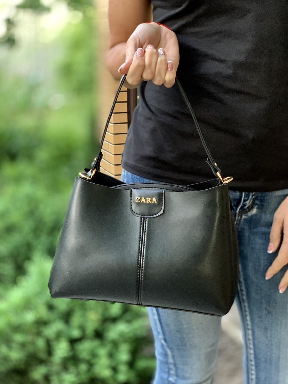 Черная женская сумочка сумка трапеция небольшая экокожа