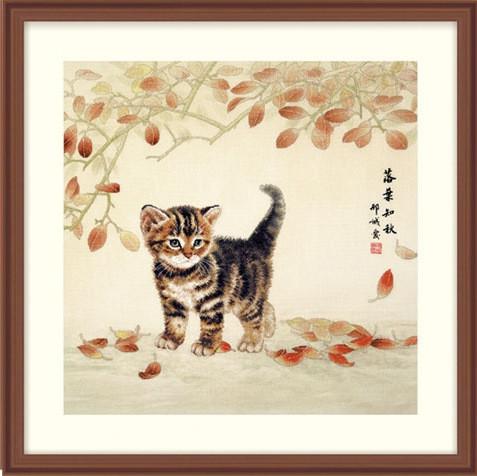 Набор для вышивки крестом XIU CRAFTS 2801603 «Котик и листья»