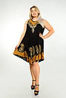 Сарафан-разлетайка черный с золотым батиком, на 50-58 размеры, фото 1