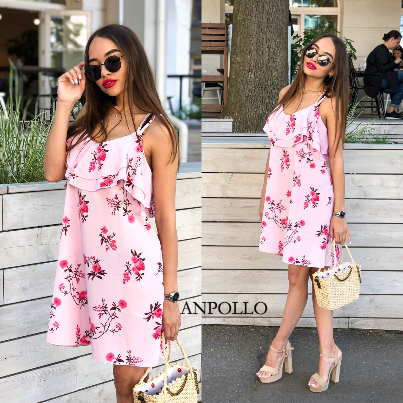 Стильное легкое летнее платье с двойной рюшей