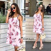 Стильное легкое летнее платье с двойной рюшей, фото 1