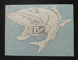 Наклейка на автомобиль Рыба-хищник, белая (h=150 мм, l=195 мм)