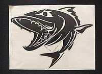 Наклейка на автомобиль Рыба-хищник, черная (h=150 мм, l=195 мм), фото 1