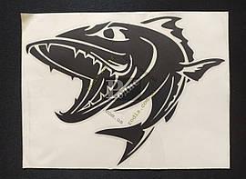 Наклейка на автомобиль Рыба-хищник, черная (h=150 мм, l=195 мм)
