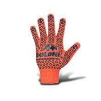 Перчатки 526 оранжевые (ладошка-точка) 3нитки ХБ-70проц. на ПЕ 30проц. Укр
