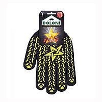 Перчатки долони 4080, ладошка-звезда, черные, 7 класс, 11 размер