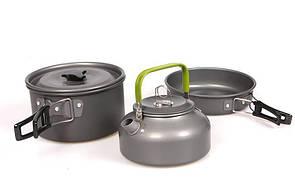 Туристический набор посуды 3в1 с чайником. из анодированного алюминия. Туристическая сковородка, кастрюля.