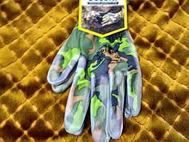 Перчатки трикотажные с полиуретановым покрытием -Милитари, р9
