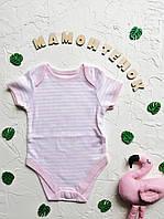 Боди-футболка белая в розовую полоску Primark для девочки 3-6 месяцев
