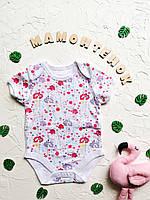 Боди-футболка белая с цветами Primark для девочки 3-6 месяцев