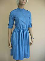 """Оригинальное платье из ткани """"под джинс"""" с погонами и коротким рукавом"""