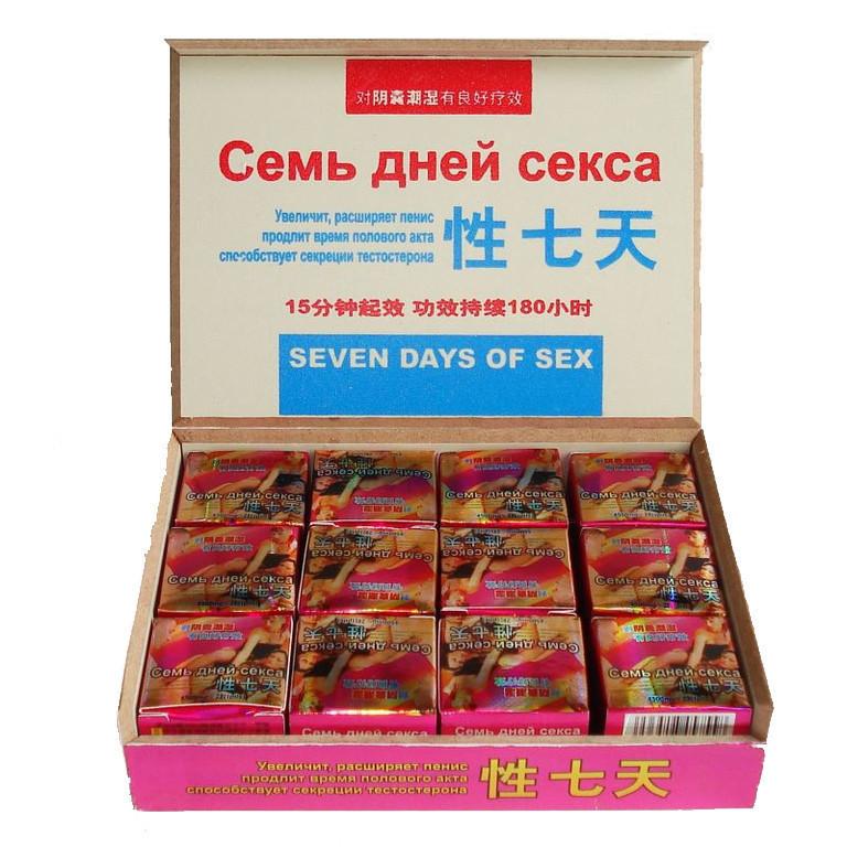 Таблетки капсулы для потенции Семь Дней Секса, пилюли 24 шт