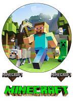 """Съедобная сахарная/вафельная пищевая печать лист А4 """"Minecraft"""""""