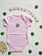 Боди-футболка розовая с зайчиками Primark для девочки 6-9 месяцев