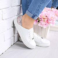 Слипоны женские Urban на шнурках белый + пудра 4353, спортивная обувь
