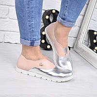 Туфли женские Lakosta пудра+ серебро 4229, балетки женские