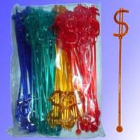 Мешалка доллар цветная 100 шт 19 см