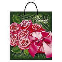 Пакет з пластиковою ручкою 40*43+3см/100 Троянда преміум (шт)