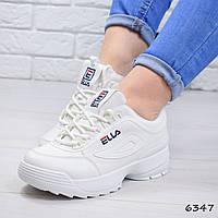 Кроссовки женские под Fila белые 6347, спортивная обувь