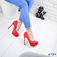 Туфли женские под Casadei красные 6739