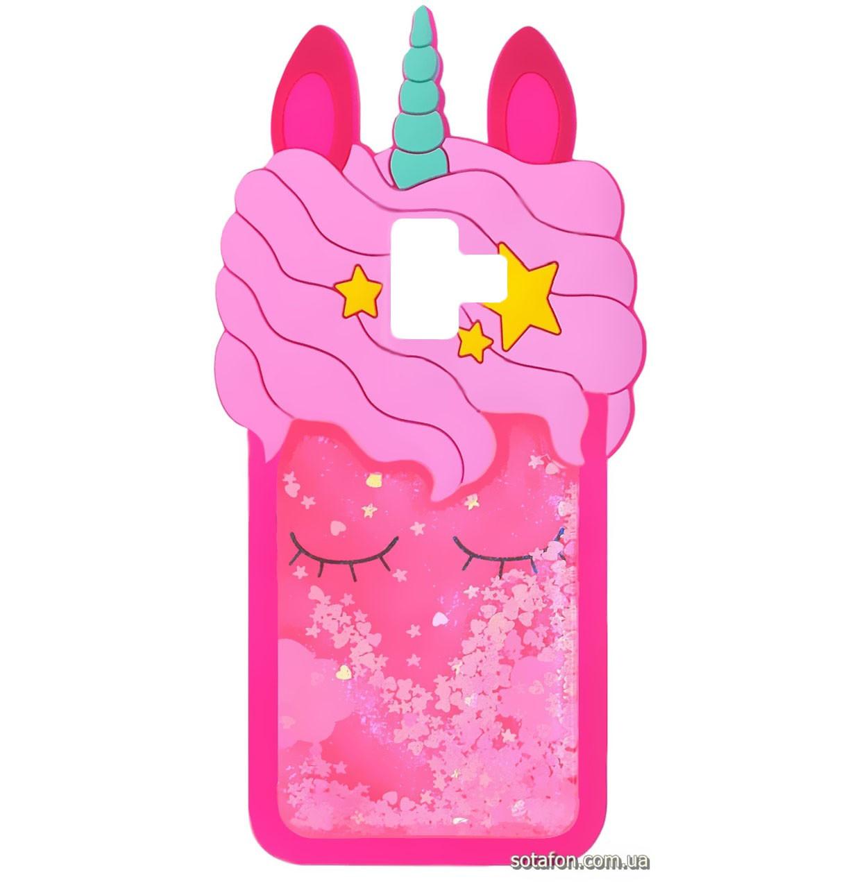 Чехол-накладка TPU 3D (Жидкий Блеск) Little Unicorn для Samsung Galaxy J6 Plus (2018) SM-J610F Crimson