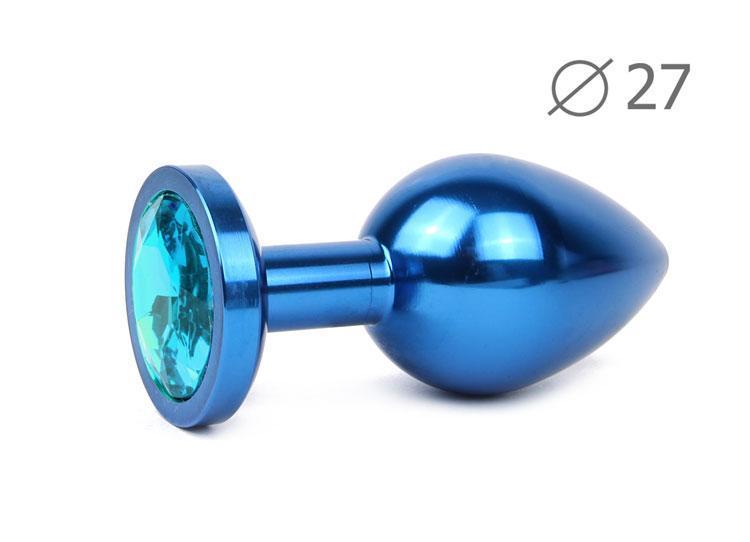 Анальная втулка синяя с голубым кристаллом BLUE PLUG SMALL L 70 мм D 27 мм вес 60г