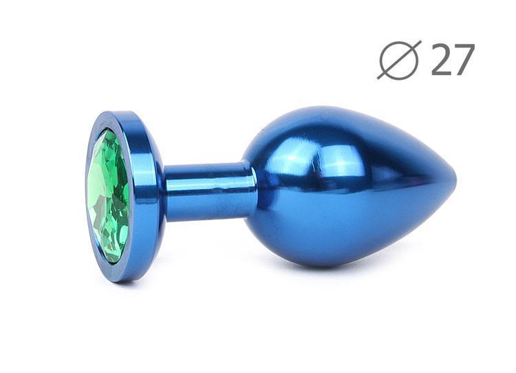 Анальная втулка синяя с зеленым кристаллом BLUE PLUG SMALL L 70 мм D 27 мм вес 60г