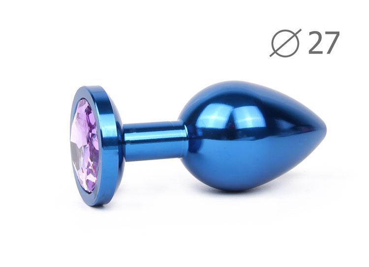 Анальная втулка синяя с светло-фиолетовым кристаллом BLUE PLUG SMALL L 70 мм D 27 мм вес 60г